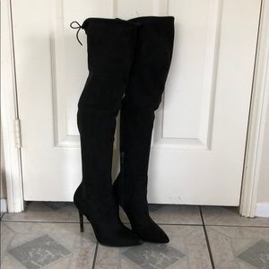 Jessica Simpson over the knee black suede boots